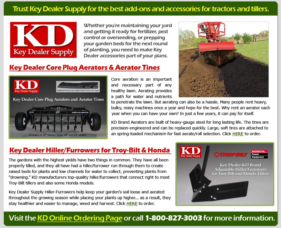 KD replacement tines, aerators and hiller/furrowers