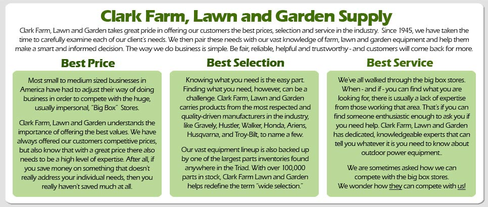 clark farm lawn and garden - best prices best service and best selection