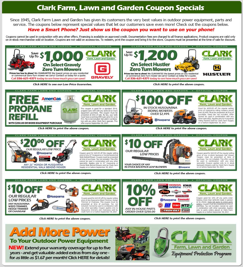 coupon specials clark farm